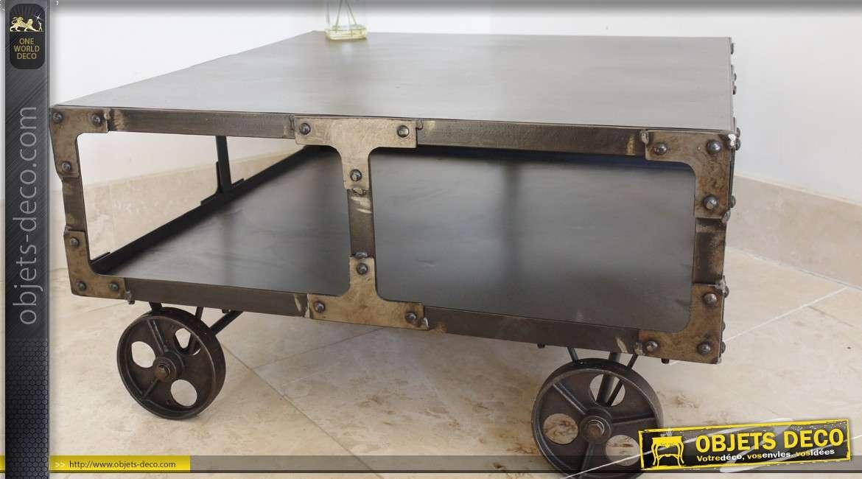 table basse wagonnet carr e en m tal style indus. Black Bedroom Furniture Sets. Home Design Ideas