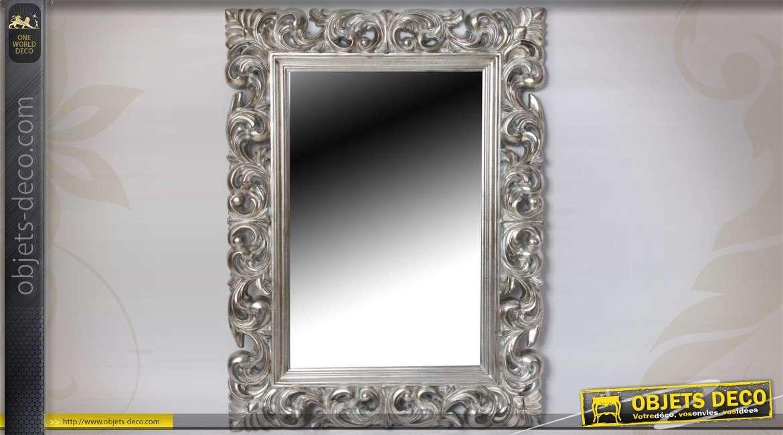 Miroir mural argent et ornement design baroque - Objets design et deco tendanceidees decouvrir ...
