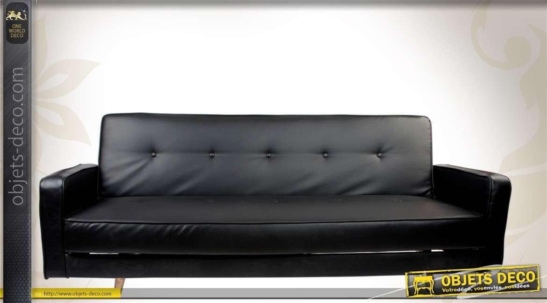 canap lit contemporain en similicuir noir et m tal. Black Bedroom Furniture Sets. Home Design Ideas