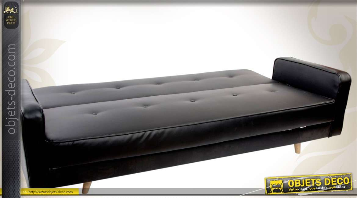 canap lit contemporain en similicuir noir et m tal. Black Bedroom Furniture Sets. Home Design Ideas