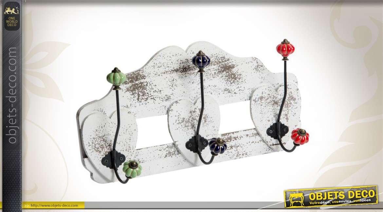 porte manteaux mural en bois 3 pat res doubles. Black Bedroom Furniture Sets. Home Design Ideas