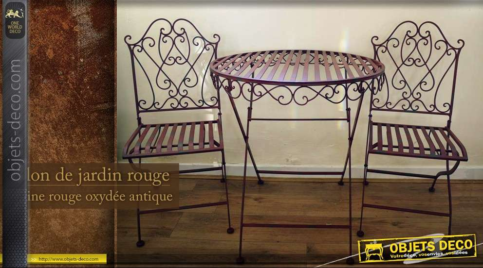Salon de jardin en fer forg rouge antique for Salon fer forge catalogue