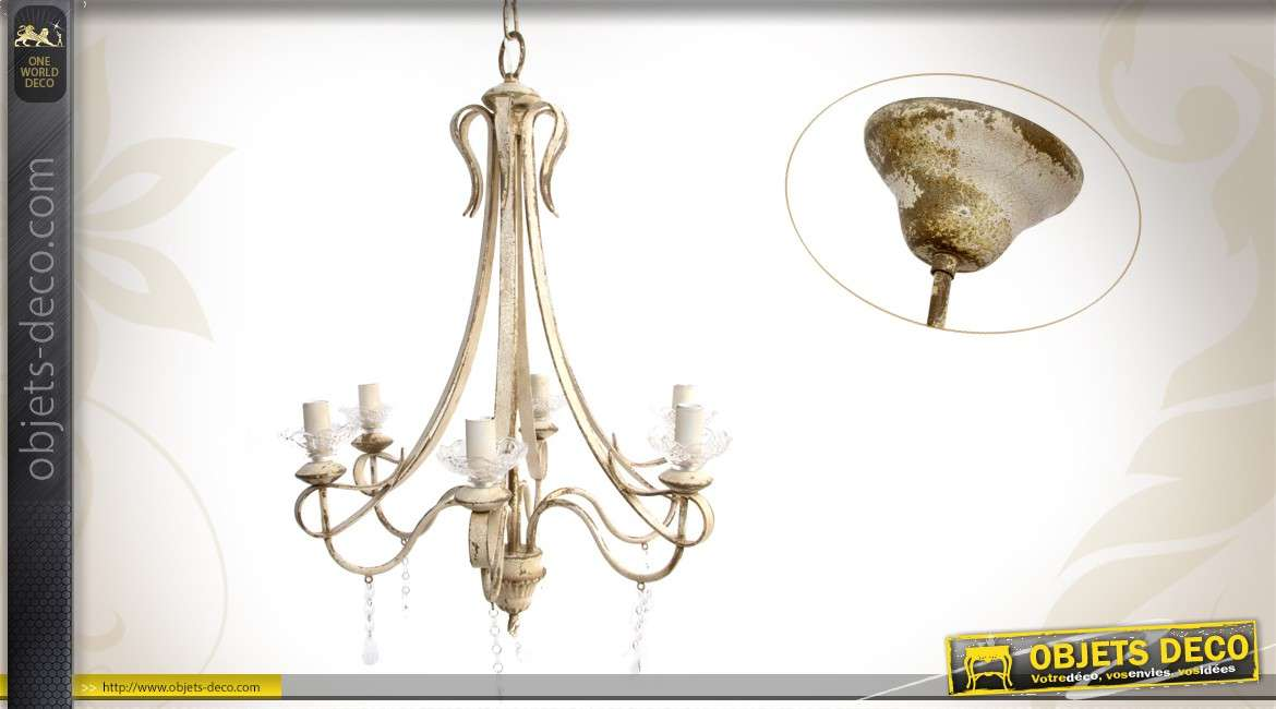 Lustre plafonnier 6 feux en m tal vieilli for Lustre en suspension