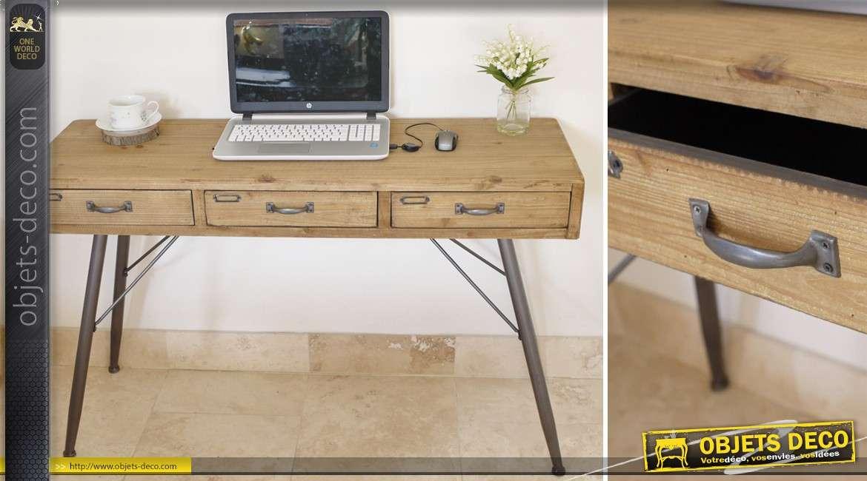 Bureau en métal et bois massif style rétro et atelier