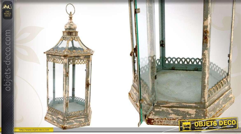 Lanterne déco en métal vieilli et en verre de style ancien on
