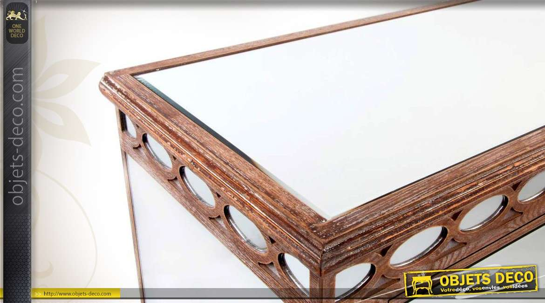 commode bois et miroir trois tiroirs style art d co. Black Bedroom Furniture Sets. Home Design Ideas