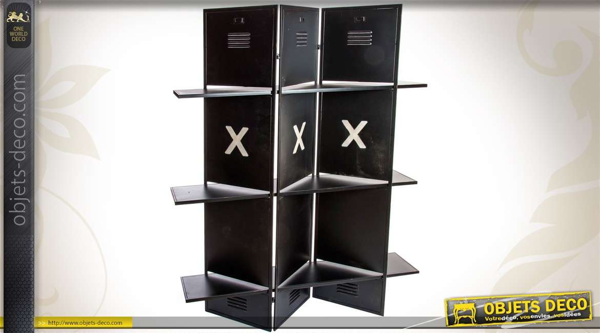 paravent 3 volets en m tal de style industriel. Black Bedroom Furniture Sets. Home Design Ideas