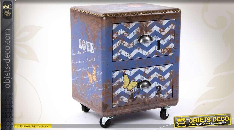 caisson sur roulettes 2 tiroirs style industriel et r tro. Black Bedroom Furniture Sets. Home Design Ideas