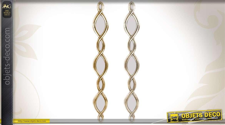 2 miroirs déco murale en torsades finition dorée et argentée