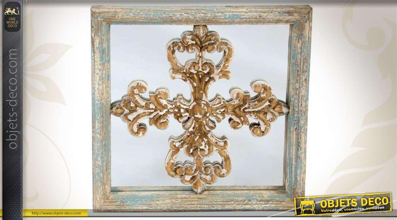 Miroir rond en bois et m tal de style r cup 39 et brocante for Miroir rond deco