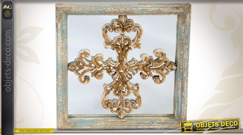 Miroir de style brocante en m tal vieilli effet oxyd 100 cm - Miroir decoration murale ...