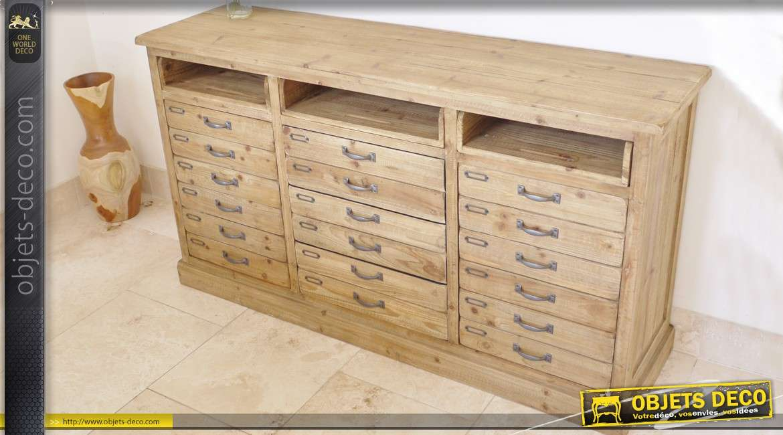 console style atelier en bois massif 12 tiroirs. Black Bedroom Furniture Sets. Home Design Ideas