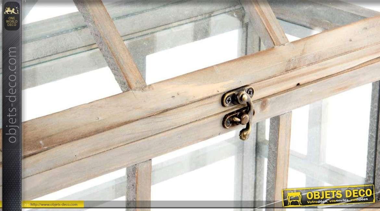 2 mini-serres d\'intérieur en bois vieilli et en verre