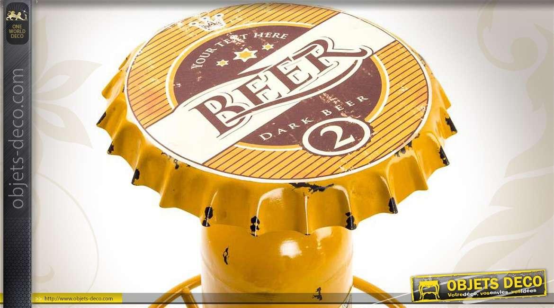 Table de bar en m tal coloris jaune plateau capsule de bi re - Capsule de biere deco ...
