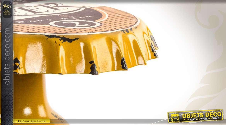 table de bar en m tal coloris jaune plateau capsule de bi re. Black Bedroom Furniture Sets. Home Design Ideas