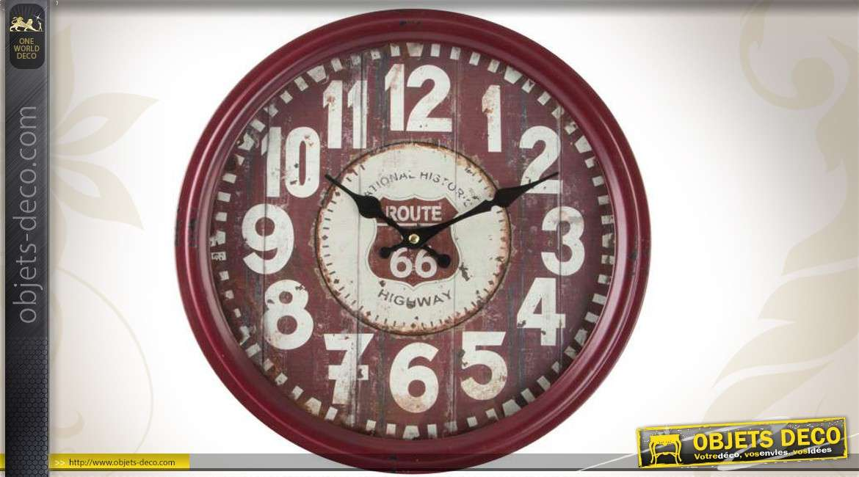 horloge murale en m tal style r tro route 66 us 38 cm. Black Bedroom Furniture Sets. Home Design Ideas