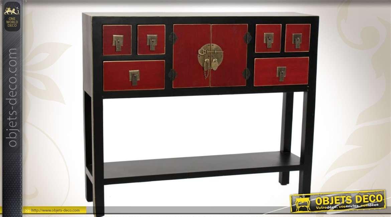 Console rouge et noire 6 tiroirs de style japonais for Console style japonais