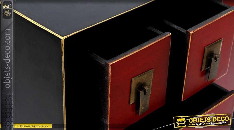 console rouge et noire 6 tiroirs de style japonais. Black Bedroom Furniture Sets. Home Design Ideas
