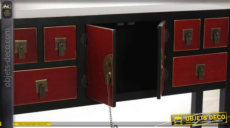 Console rouge et noire 6 tiroirs de style japonais for Meuble console japonais