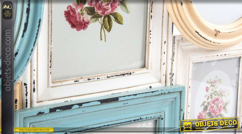 cadre photos mural en bois coloris divers et patin s. Black Bedroom Furniture Sets. Home Design Ideas