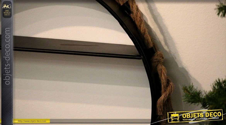 Etagère ronde suspendue en métal style industriel Ø 57 cm