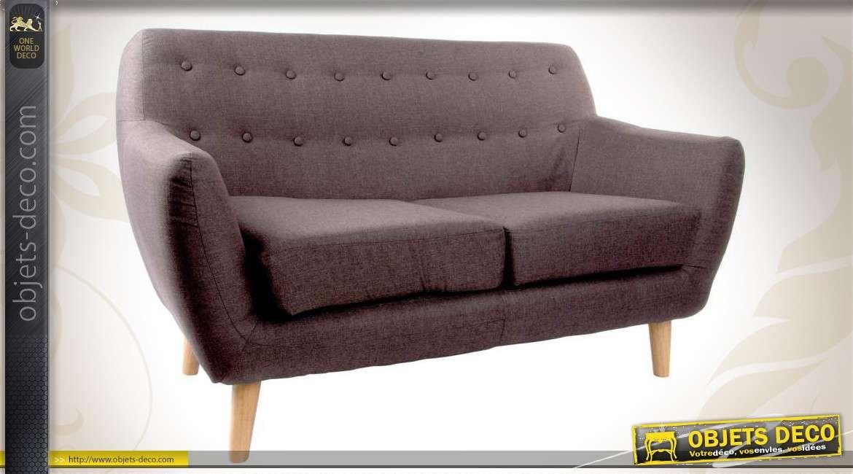 Canap 2 places en bois et habillage tissu coloris gris for Canape bois et tissu