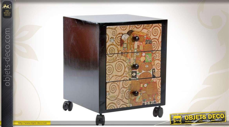 table de chevet en bois 3 tiroirs d co gustav klimt. Black Bedroom Furniture Sets. Home Design Ideas