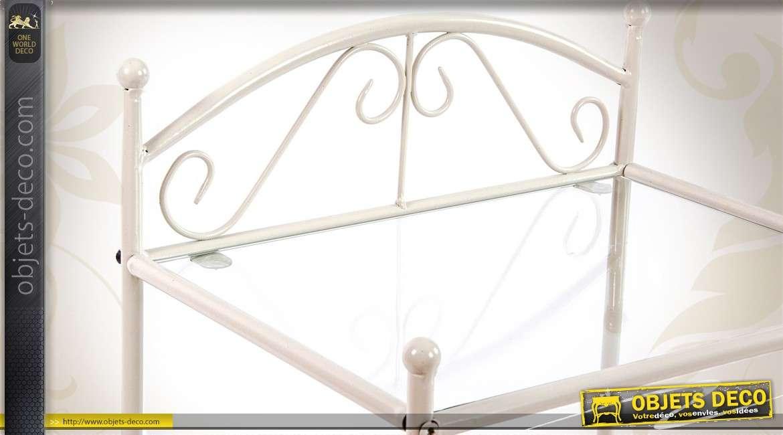 Table de chevet en m tal inspiration fer forg coloris blanc - Table de chevet fer forge ...