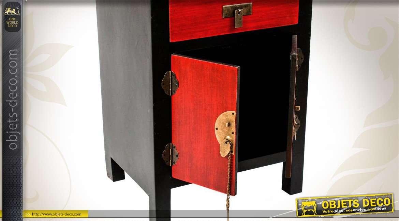 chiffonnier coloris noir et rouge de style japonais. Black Bedroom Furniture Sets. Home Design Ideas