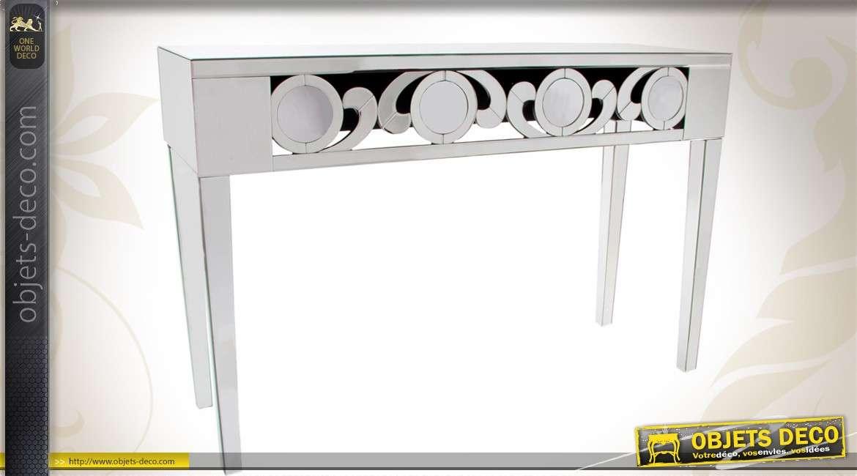 Console style art d co en verre et miroir for Verre et miroir