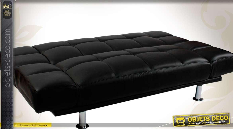 Canapé-lit noir similicuir style vintage Art Déco