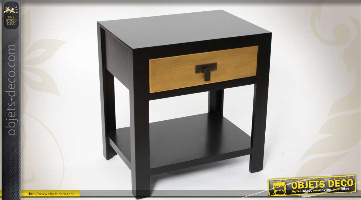 table de chevet noir et dor style japonais 1 tiroir. Black Bedroom Furniture Sets. Home Design Ideas