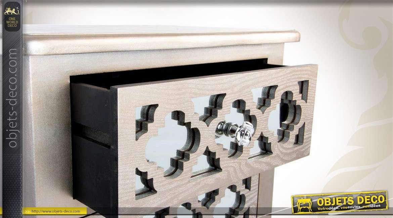 chiffonnier 5 tiroirs style art d co finition argent et. Black Bedroom Furniture Sets. Home Design Ideas