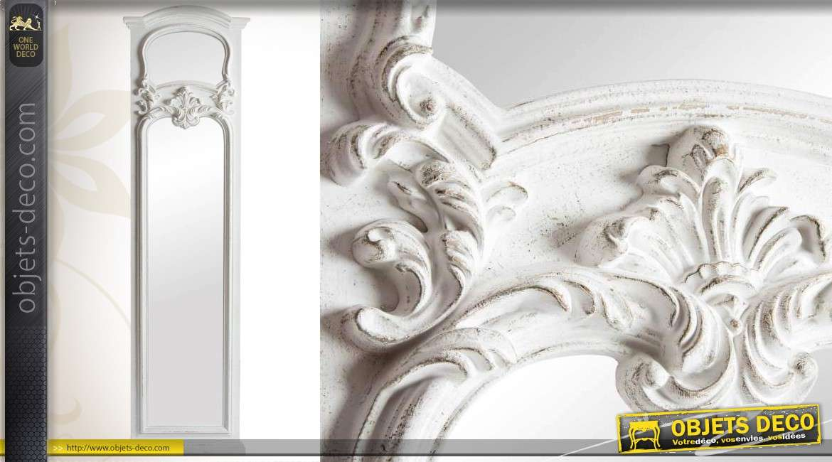Grand miroir baroque de dressing 180 cm r tro blanc antique - Miroir mural 180 cm ...