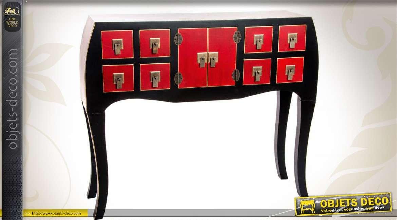 Console coloris rouge et noir style japonais 8 tiroirs 2 for Console style japonais
