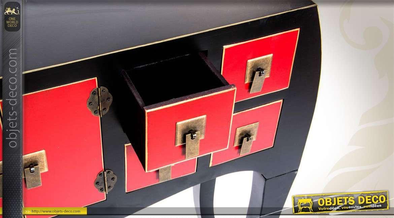 Console coloris rouge et noir style japonais 8 tiroirs 2 for Objet deco rouge et noir