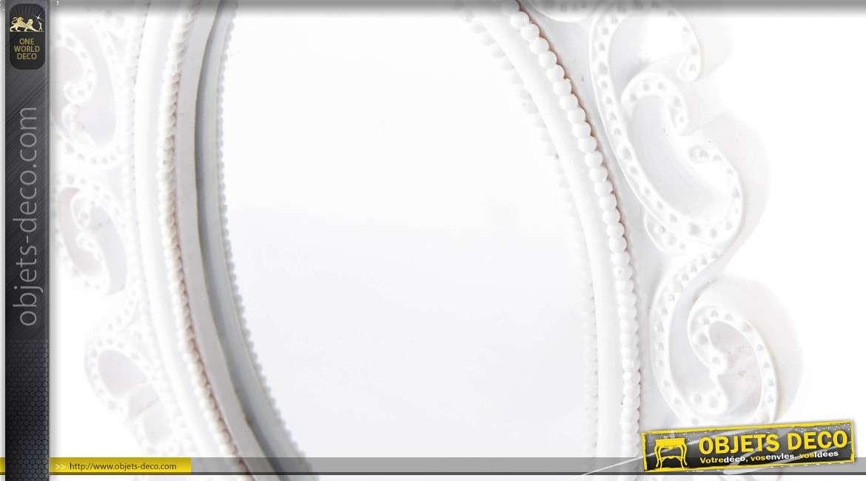 Miroir de coiffeuse blanc de style romantique forme ovale for Miroir blanc romantique