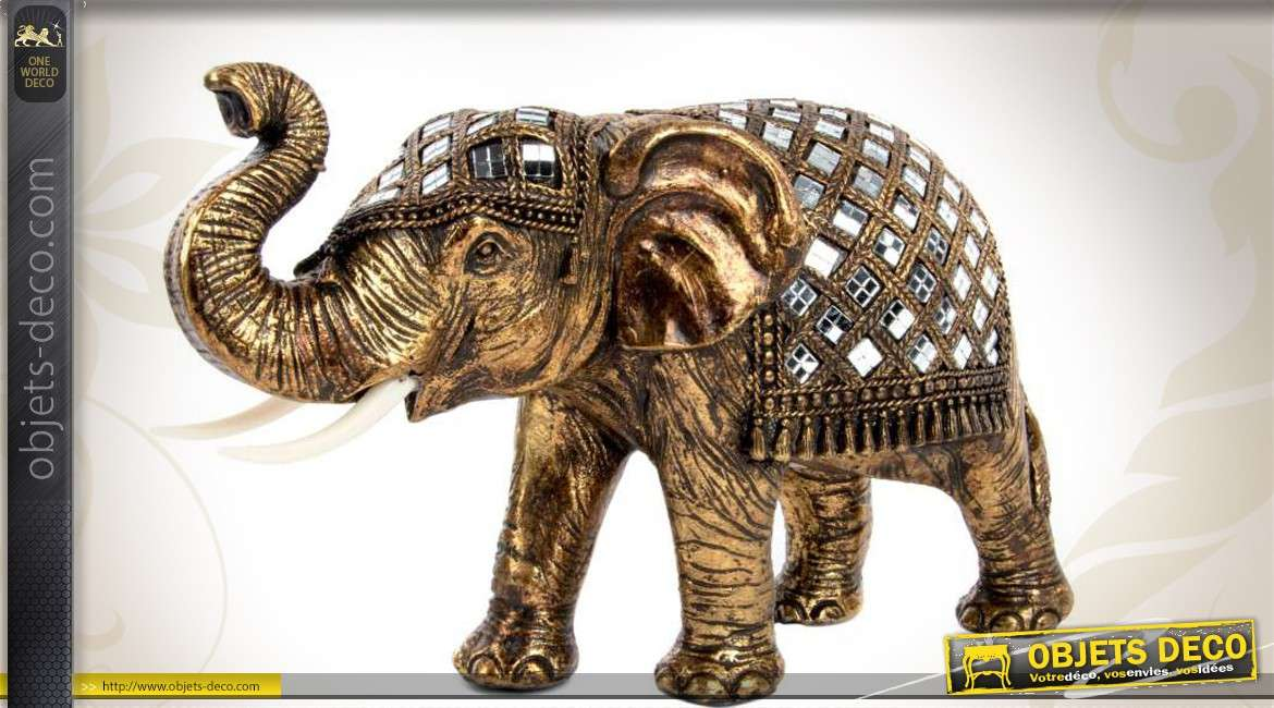 statuette d corative d 39 l phant indien dor avec petits miroirs. Black Bedroom Furniture Sets. Home Design Ideas