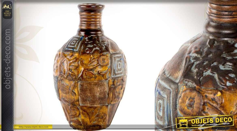 vase c ramique style ancien motifs floraux en relief 33 cm. Black Bedroom Furniture Sets. Home Design Ideas