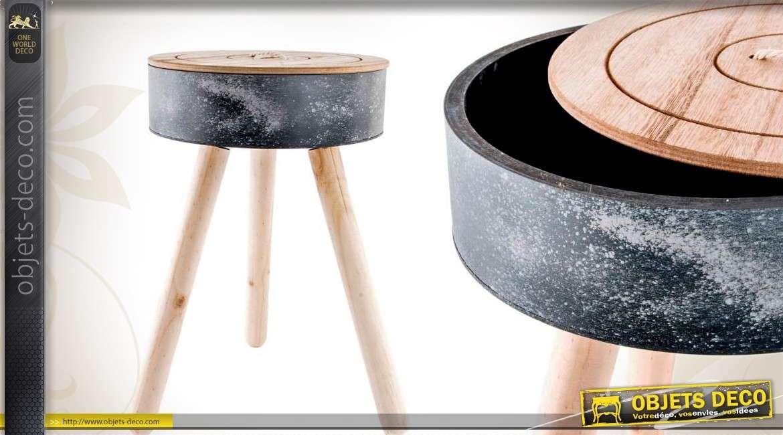 table d 39 appoint bo te couture effet bois vieilli 30 cm. Black Bedroom Furniture Sets. Home Design Ideas