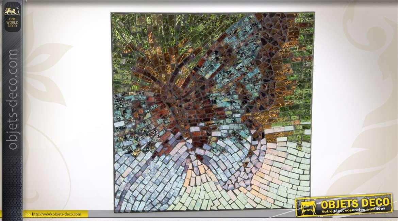 Tableau Mural 34 X 34 Cm En Mosaïques De Verre Papillons