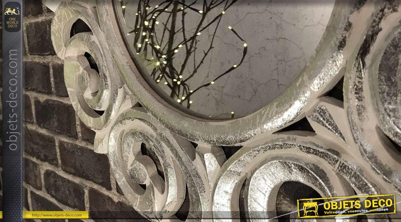 Miroir mural en bois sculpté style rétro et romantique Ø 60 cm