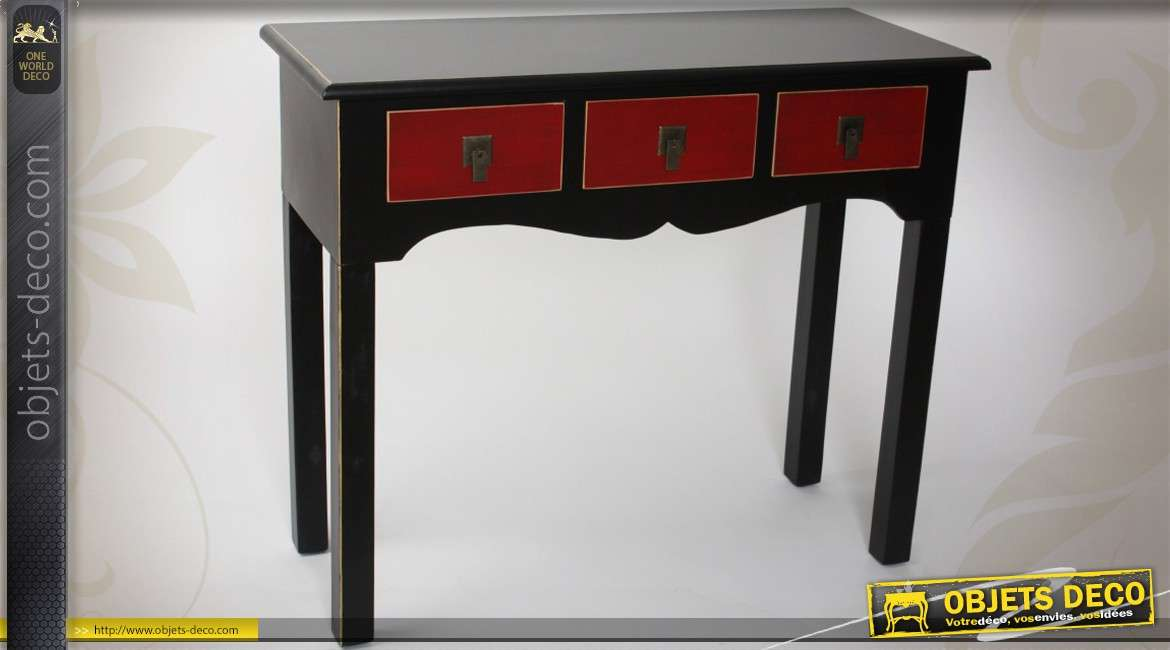 console de style japonais avec 3 tiroirs coloris noir et rouge. Black Bedroom Furniture Sets. Home Design Ideas