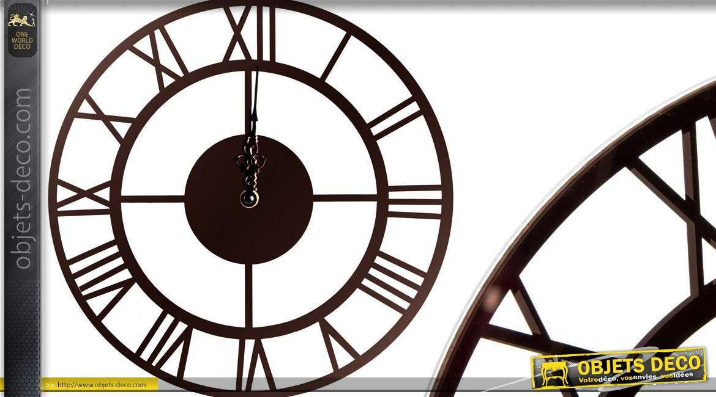 horloge murale style m tal indus sous verre 30 cm. Black Bedroom Furniture Sets. Home Design Ideas