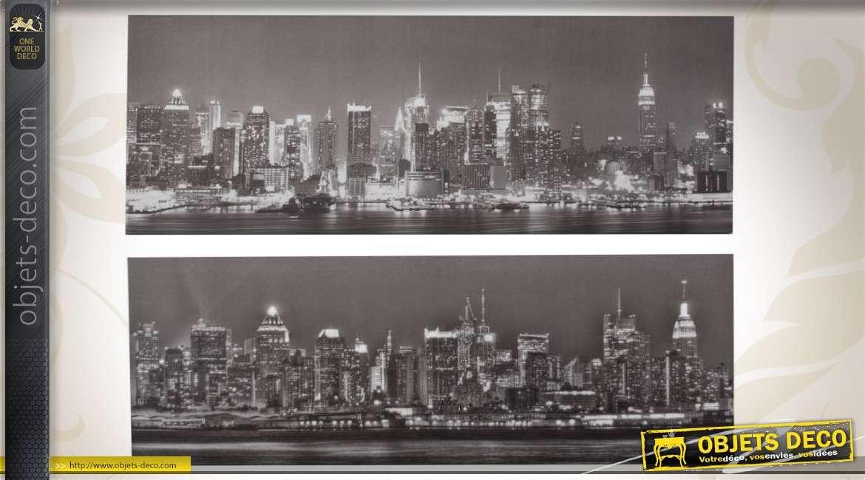 2 grands tableaux en noir et blanc new york la nuit 100 x 40 cm. Black Bedroom Furniture Sets. Home Design Ideas