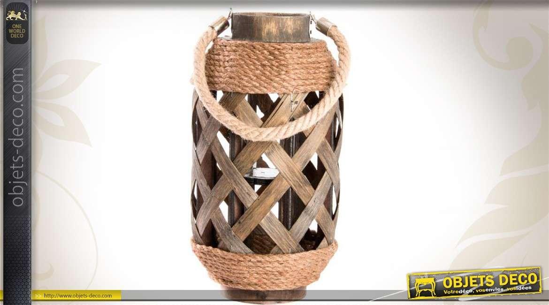 Lanterne en bois corde tress e et m tal 33 cm for Objet deco bois naturel