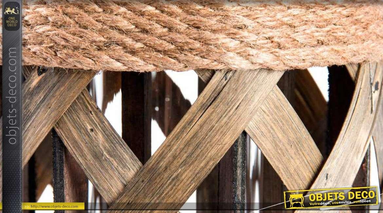 lanterne en bois corde tress e et m tal 33 cm. Black Bedroom Furniture Sets. Home Design Ideas