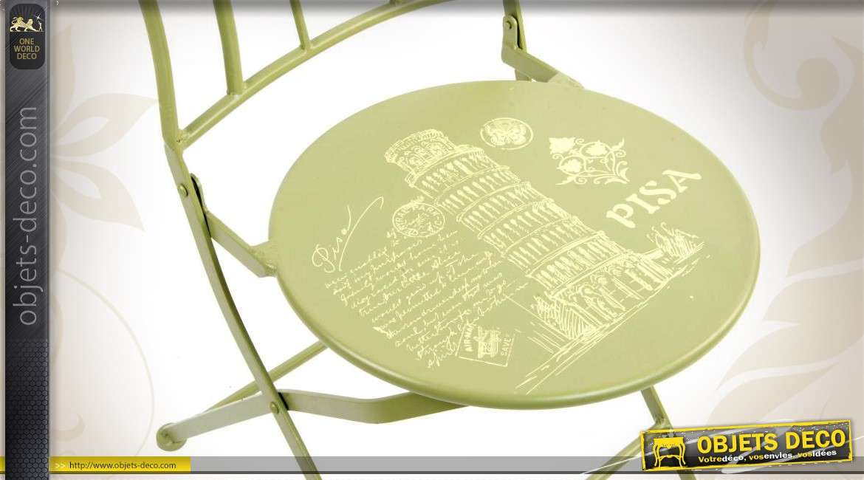 Chaise de jardin vert anis avec illustration Tour de Pise