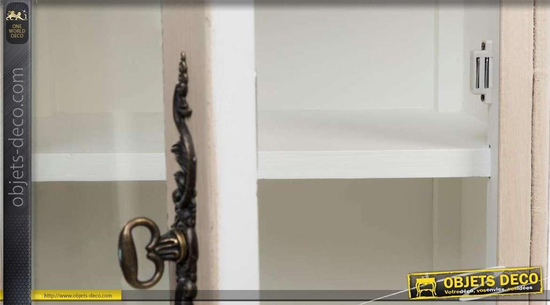petit meuble vitrine de style campagne chic patine cr me antique. Black Bedroom Furniture Sets. Home Design Ideas