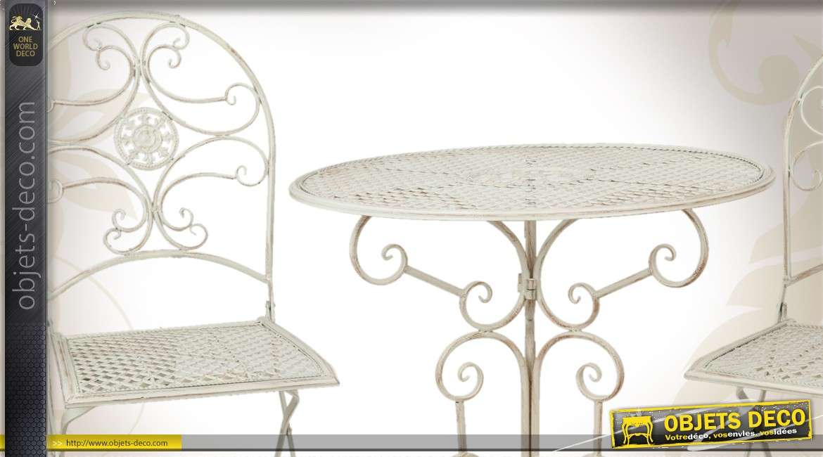 Salon de jardin en m tal blanc patin d 39 inspiration fer forg for Salon fer forge catalogue
